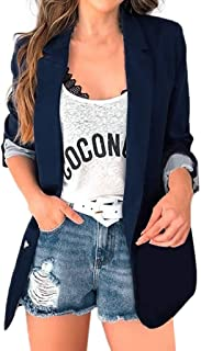 Funnygals - Women's Suit Jackets Casual Loose Buttons Work Office Blazer Suit Cardigan with Long Sleeve, Lapel Neck