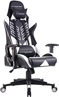 GTRACING Gaming Chair Racing Office Computer Game Chair Ergonomic Backrest and Seat Height Adjustment Recliner with Headrest and Lumbar Cushion E-Sports Chair White