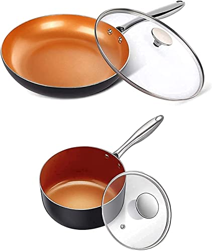 wholesale MICHELANGELO 8 Inch Frying Pan + 2 Quart Saucepan with Lid, Ceramic Nonstick online Pan Set with Lid and Copper online sale Pot and Pan, Ultra Nonstick Copper Pan Set with Lid sale