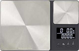 Balança digital de cozinha KitchenAid de plataforma dupla, capacidade de 5 kg, preta