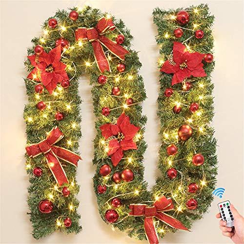 Treer Weihnachtsgirlande mit Beleuchtung, Tannengirlande Batterie Remote 8 Modus Lichterkette Weihnachten Dekoration für Innen und Außen Verwendbar (Warmweiß,rot)