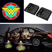 Wonder Women Auto Sport Car Door Lamp, No Drilling Wireless Magnetic Car Door Step LED Welcome Logo Shadow Ghost Light Laser Projector Lamp- 2 Pcs