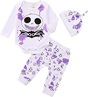 Baby Boys Girls Halloween Outfits Ghost Pattern Romper Tops+Elastic Pants+Hat Newborn Pajama Clothes