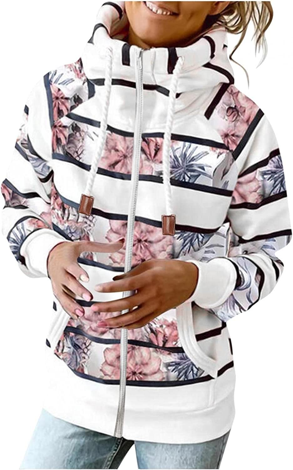 Womens Hoodies,Women's Fashion Hoodies & Sweatshirts Plus Size Trendy with Pockets Stripes Graphic Pullover