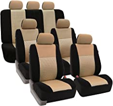 FH Group FH-FB060217 Three Row Trendy Elegance Car Seat Covers w. 7 Headrests, Airbag Compatible and Split Bench, Beige/Bl...