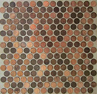 Stone Deals USA Copper Penny Round Coin Tile Sheets for Floor or Wall Art