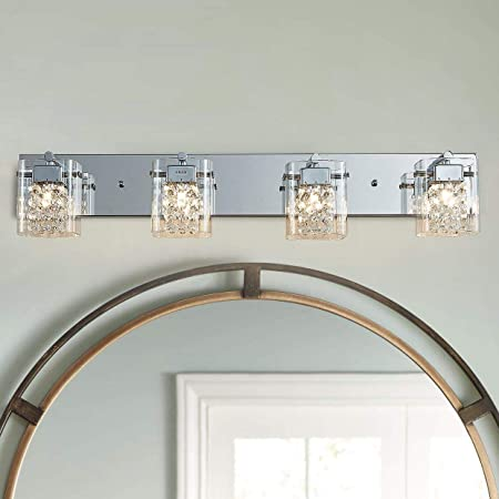 """Nice 30/"""" Brass and Beveled Mirror Vanity 4 Light Bar with Lead Crystal"""