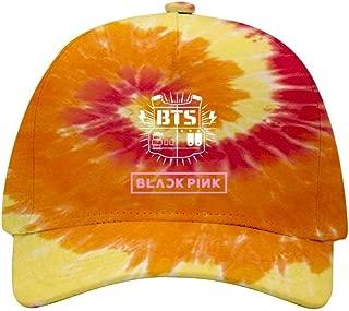 Mens/Womens Baseball Cap B-T-S & Black-Pin-k Logo Adjustable Baseball Rainbow Spiral Tie Dye Peaked Hat