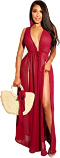 Women Chiffon Beach Cover Up Maxi Dress Tie Waist Sleeveless Split Side Bikini Swimsuit Long Cardigan Beachwear