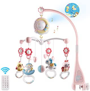 Baby Musical Crib Mobile with Timing Function Projector and Lights,Hanging Rotating Rattles and Remote Control Music Box w...