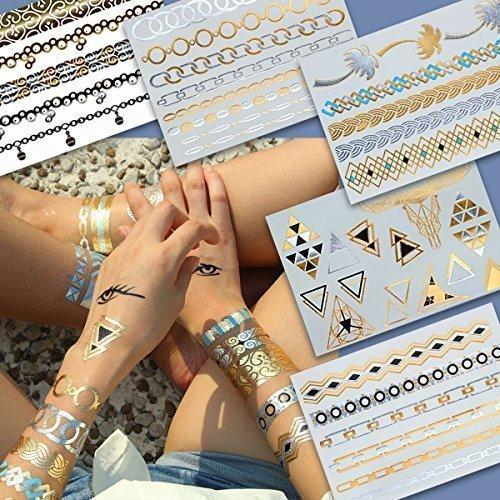 Modeschmuck BEAUTY, Gold Metallic Flash Tattoos, Armkettchen, 5 Sets 40 Motive