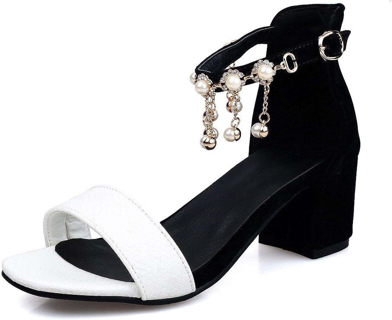 AllhqFashion Women's Assorted color Pu Kitten Heels Open Toe Buckle Sandals
