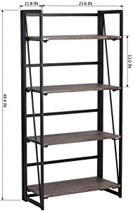 coavas Scaffale Pieghevole Scaffale 4-Tiers Scaffale in Legno Cabinet No-Assembly Espositore Industriale Organizzatore per Libri Piante Cucina
