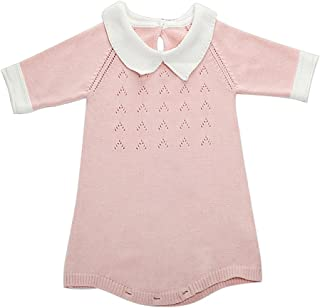 Wennikids Infant Baby Girl Three Quarter Knitted Bodysuit Outfits Sweater Romper