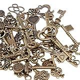 GOLDGE 80er Vintage Deko Schlüssel Bronze Schlüssel Retro Anhänger für Halskette zum Herstellen von Schmuck, Basteln