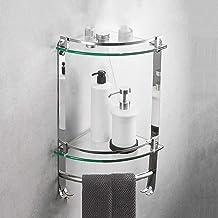 Yxsd Badkamer glazen plank, 304 roestvrij staal driehoek hoek frame, badkamer hoek frame optioneel badkamer plank glas (kl...