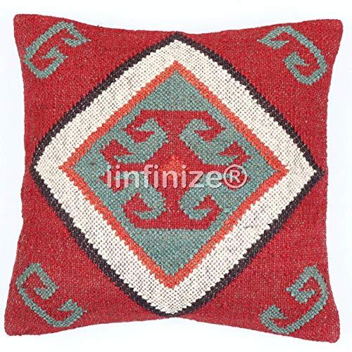 iinfinize Funda de cojín de yute, estilo vintage, tejida a mano, funda de cojín Kelim, decorativa, cuadrada, bohemio, rústico, de Kilim