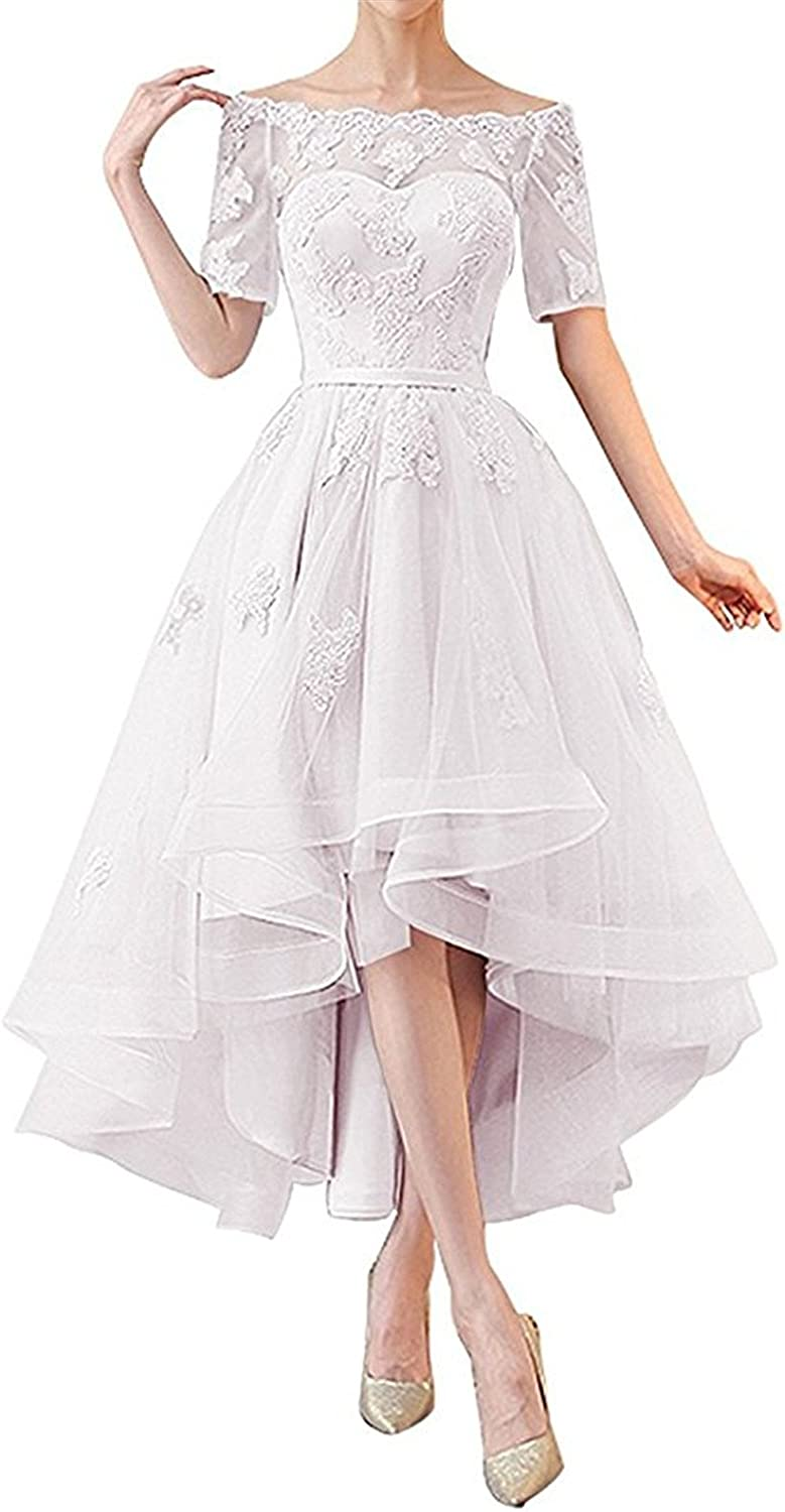 NOVIA Women's Off Shoulder High Low Wedding Party Dresses 1/2 Sleeves Vintage Bridesmaid Gown