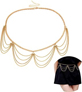 Juland Multilayer Alloy Waist Chain Body Chain for Women Waist Belt Pendant Belly Chain Adjustable Body Harness for Jeans Dresses – Gold 0401