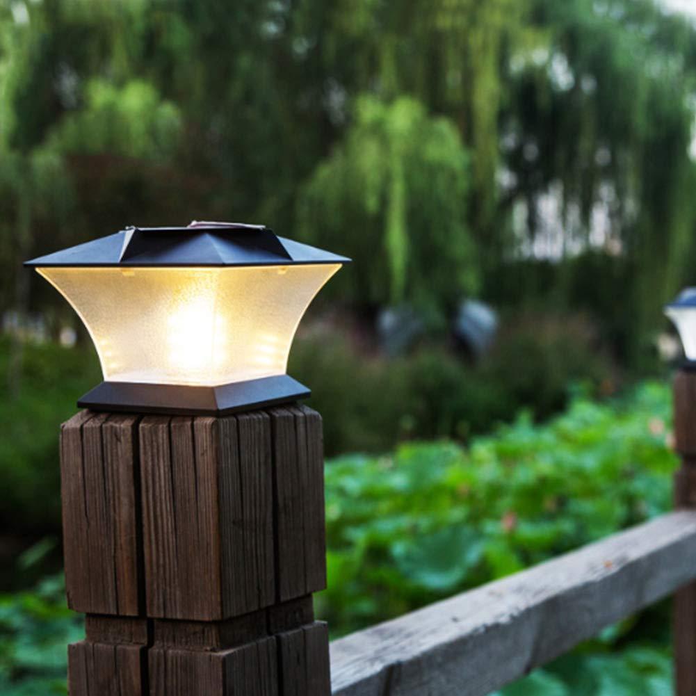 Poste de luces solares – Luz de poste exterior para valla o patio – Luz de pilar alimentada por energía solar adecuada para jardín al aire libre LED decoración, blanco: Amazon.es: Bricolaje
