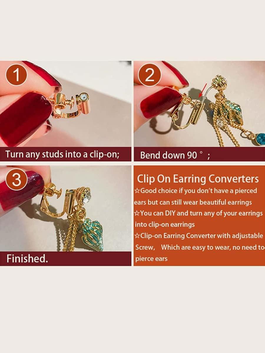 LCUY Hoop Earrings 1pair Clip On Earring Converters (Color : Gold)