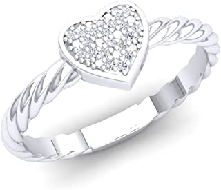 0.06 Carat (Ctw) Round White Diamond Ladies Bridal Heart Shaped Rope Style Promise Ring, Sterling Silver