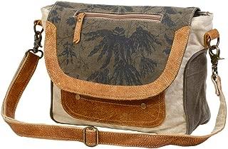 Myra Bag Classic Upcycled Canvas & Leather Messenger Bag S-1228