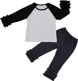 Wennikids Children Baby Cotton Icing Ruffle Shirt Ruffle Sleeved Raglan Pants Set