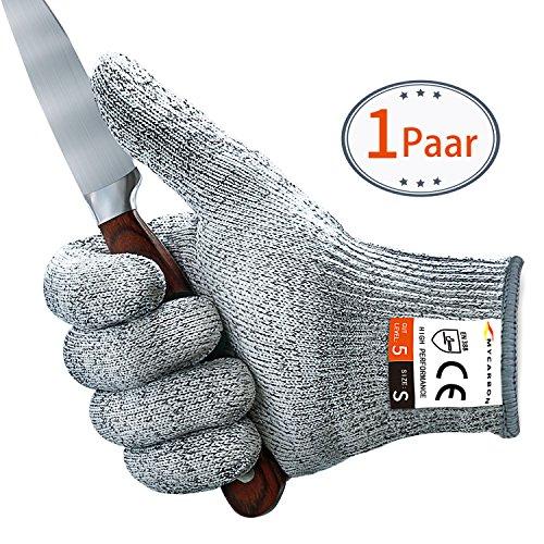 Schnittschutzhandschuhe - MYCARBON Schnittfeste Küchehandschuhe Handschuhe Schnittschutzklasse 5 EN 388 CE für Küche Baustelle Gartenbau Schutzhandschuhe Einsatzhandschuhe (S)
