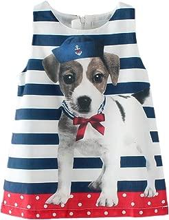 LittleSpring Little Girls Sundress Dogs Printed Sleeveless Dress