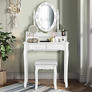Giantex Vanity Table Set with 10 LED Lights, Makeup Dressing Table w/Lighted Oval Mirror and Touch Switch, Brightness Adjustable,4 Drawers Makeup Dressing Desk w/Cushioned Stool Set (White)