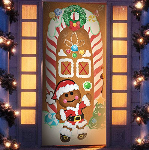 Joiedomi Christmas Ginger Bread House Window Door Cover Holiday House Decoration 72X30 Inches