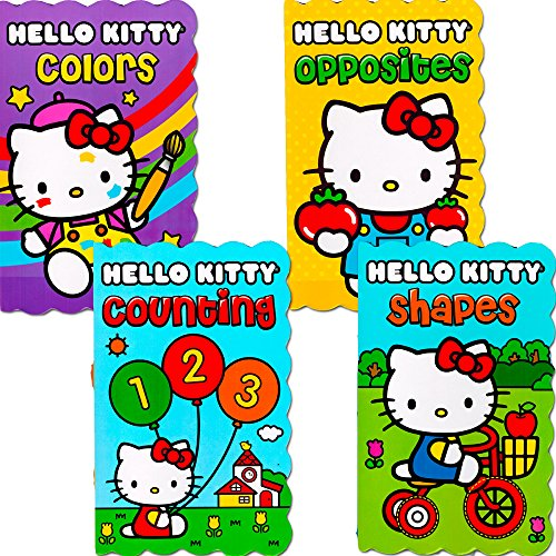 Hello Kitty Board Books - Set of Four My First Books for Toddlers (Numbers, Shapes, Colors and Opposites)