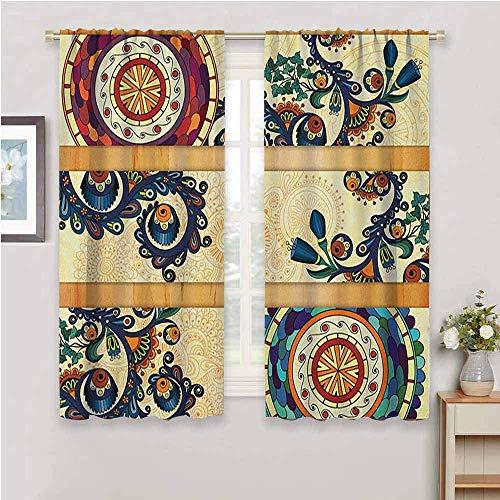 Batik Living Room Blackout Curtains, Curtains 63 inch Length Oriental Vintage Paisley Batik Pattern with Motifs in Flat Boho Art Design Repeatable use Multicolor W63 x L63 Inch