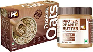 MuscleBlaze High Protein Natural Peanut Butter, 37 g Protein, Unsweetened, Crunchy, 340 g and Probiotic Oats, Good For Gut...