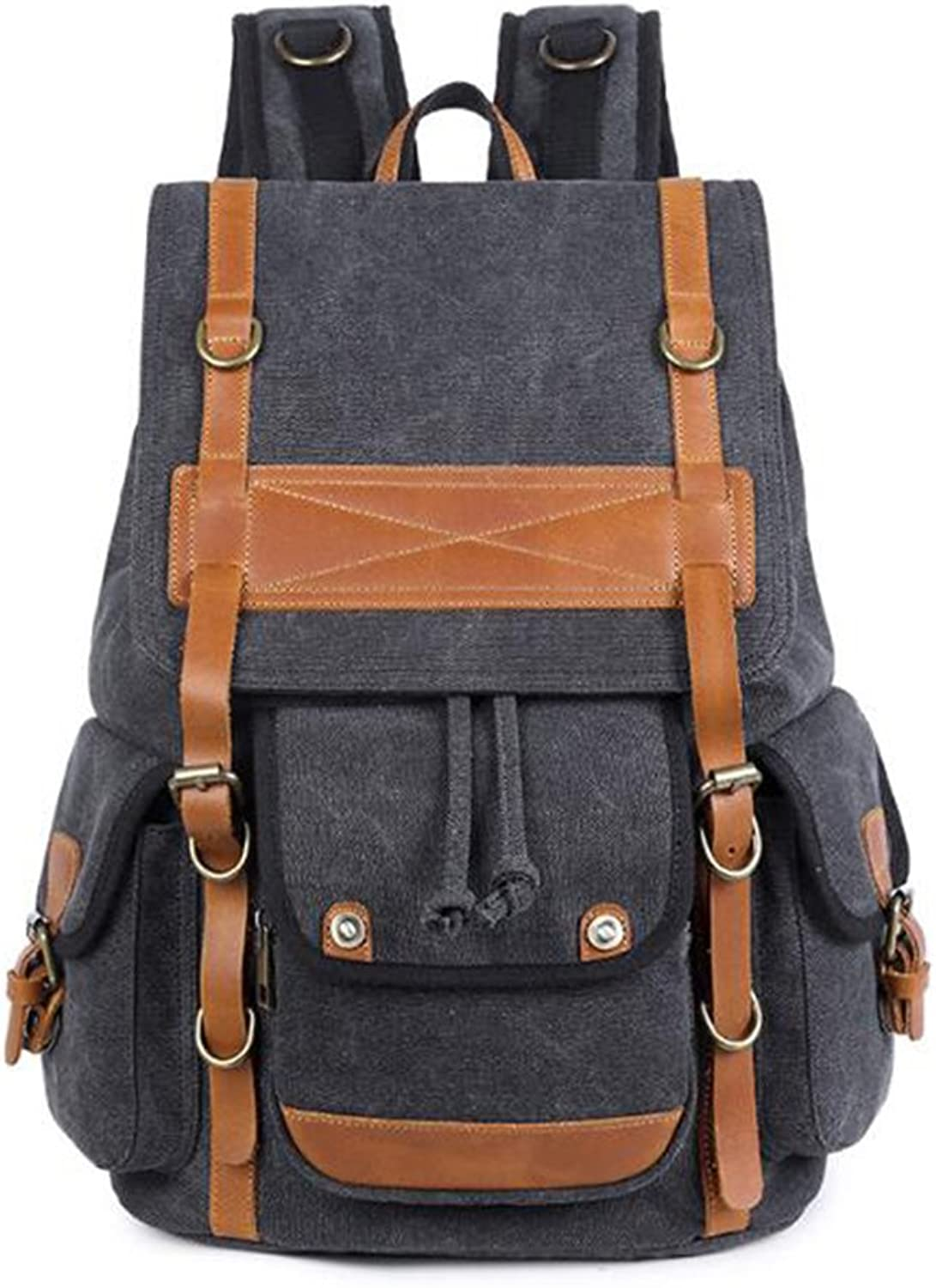 KIMSAI Canvas Backpack, Vintage Canvas Leather Rucksack Backpacks For Women Men Travel Hiking Camping School,Black