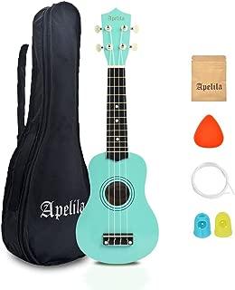 Apelila 21 inch Soprano Ukulele Acoustic Mini Guitar Musical Instrument with Bag, Pick, Strings, for Kid, Children,Amateur (Seafoam Green)