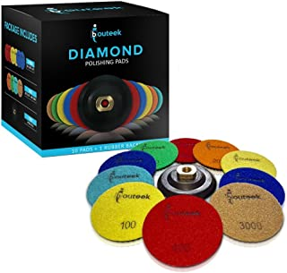 ibouteek Diamond Polishing Pads 4 inch Wet/Dry 10 Pads + Backer   Polishing Kit for Granite Marble Concrete and Stone
