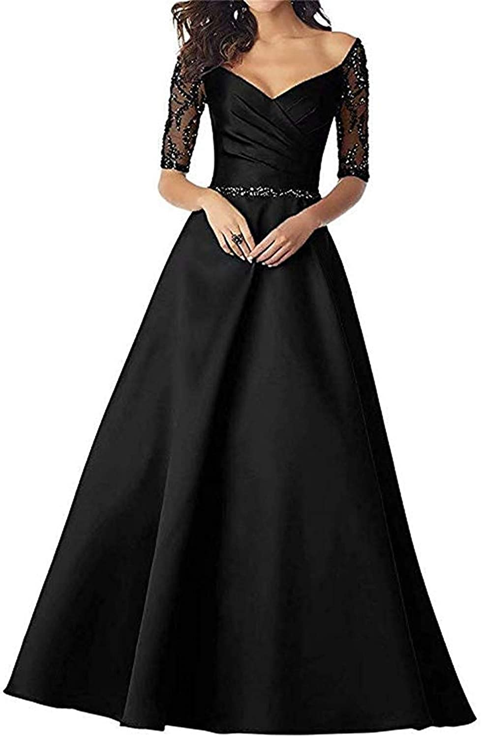 Scarisee Womens Half Sleeves VNeck Evening Prom Dresses Beaded Mother's Gown189