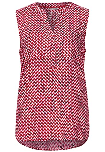 Street One Damen Blusentop mit Minimal Muster Spice red 46