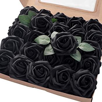 Floroom Artificial Flowers 50pcs Real Looking Black Fake Roses with Stems for DIY Wedding Bouquets Centerpieces Arrangements Party Tables Home Halloween Decorations
