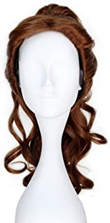 Princess Long Curly Brown Cosplay Costume Wig with Claw Ponytail Girl Adult Kids