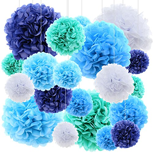 20 ct Tissue Paper flowers pom poms wedding party decor - Blue