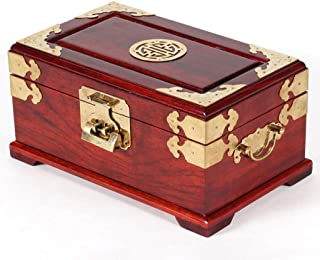 Double Layer Retro Wooden Decorative Trinket Jewellery Box (26.516.513) cm with Locked Corrosion Resistant Alloy