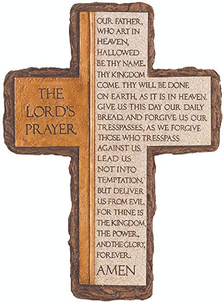 Carson Home Accent Wall Cross Lords Prayer 10 25 X 7 5 Black And White
