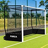 FORZA FIH Championship Hockey Goal | Weatherproof Aluminium Hockey Goal with Puncture Proof Wheels (Black, Pair - With Weights)