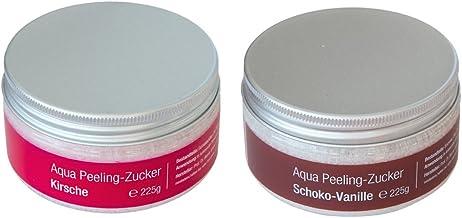 2ème assortiment exfoliant pour le corps avec du sucre 2 x 225 gr pour sauna, bain et douche, cerise et choco-vanille