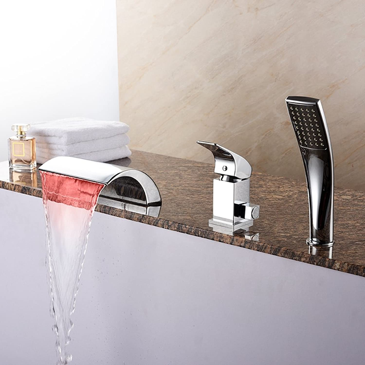 BFTAPS LED Light Waterfall Bathtub Faucet Three-piece With Hand Shower Bathroom Three-hole Basin Side Hot And Cold Water Sitting Mixing Valve Taps,ChromeFaucet
