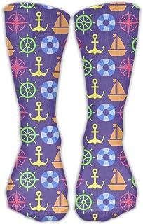 Bigtige, Calcetines de mujer Lady Girls Classics Crew Patrón de espíritu náutico Calcetines de vestir deportivos personalizados 50cm de largo-Toda la temporada