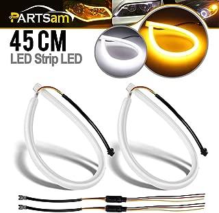 Partsam 45cm Switchback LED Strip Lights DRL Daytime Running Headlight White-Amber Dual Color 2pcs Flexible LED Tube Side Signal Light